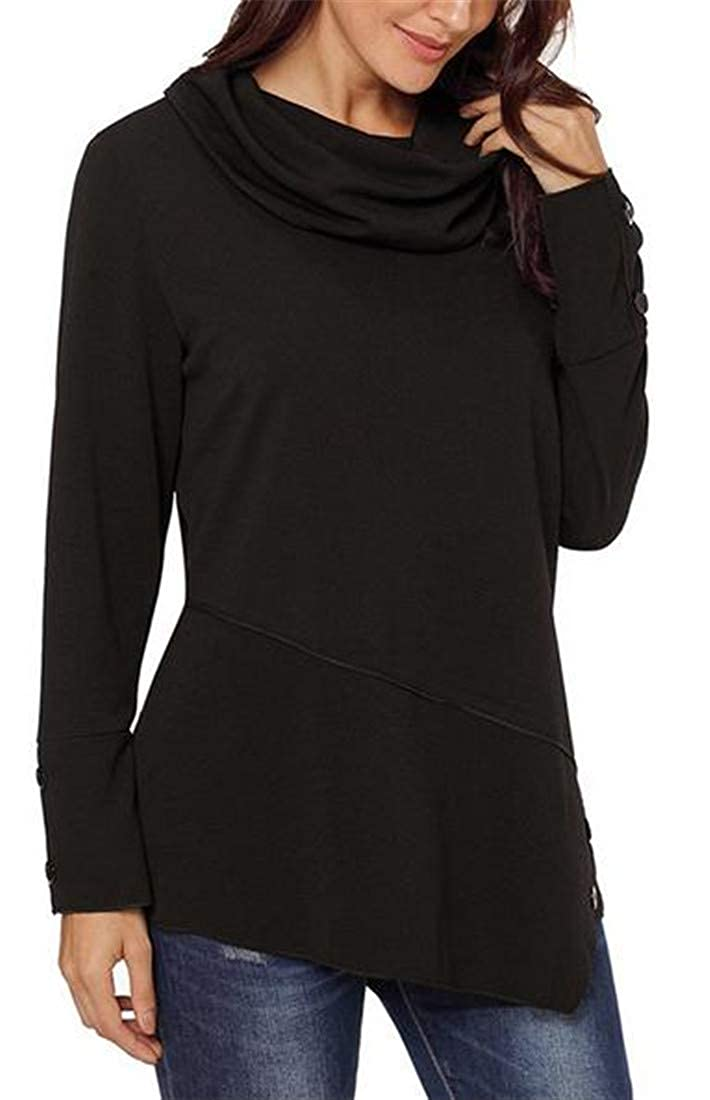 C/&H Womens Casual Large Size Long Sleeve Button Tunic Sweatshirt Pullover