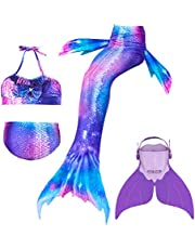 BESTYLING 4PCS Girls Mermaid Tail Swimsuit Cosplay Princess Swimwear with Monofin