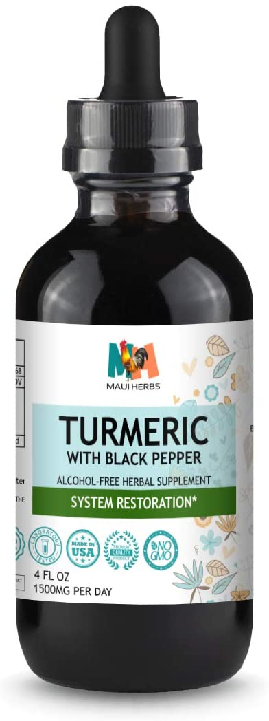 Turmeric Curcumin Tincture 4 fl oz Alcohol-Free Liquid Extract, Turmeric Root Curcuma Longa with Black Pepper