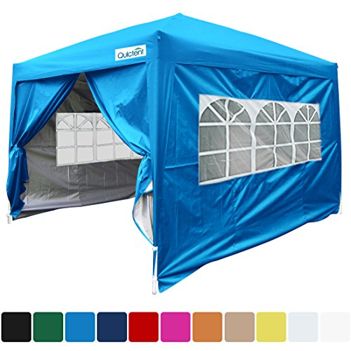 Quictent Silvox Waterproof 10x10' EZ Pop Up Canopy Multifunctional Tent Camping Tent/Party Tent/Commercial Tent Gazebo 8.7 ft Height Light Blue Portable ()