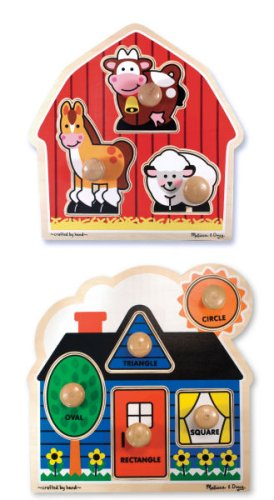 First Shapes and Barnyard Animals Wooden Jumbo Knob Puzzle Set -Melissa and Doug