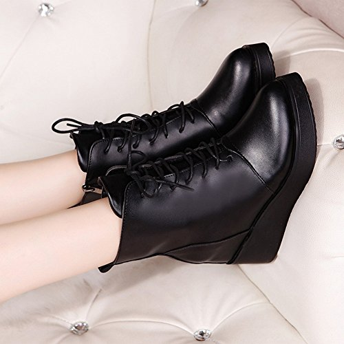 Martin Boots Women Boots Slope with a Pointed Thick Bottom of the Waterproof Table Plus Cashmere Warm Boots , black , EUR37