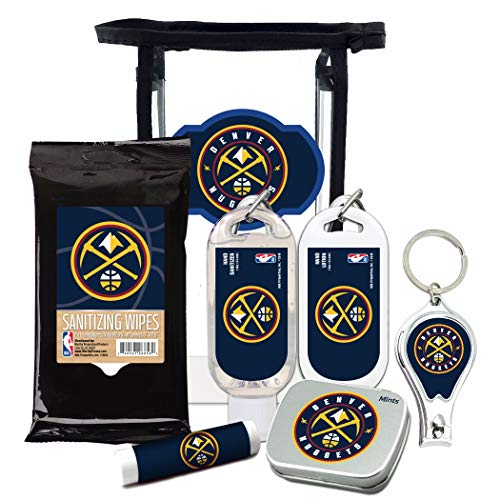 Denver Nuggets 6-Piece Fan Kit with Decorative Mint Tin, Nail Clippers, Hand Sanitizer, SPF 15 Lip Balm, Hand Lotion, Sanitizer Wipes. NBA Gifts for Men and Women By Worthy