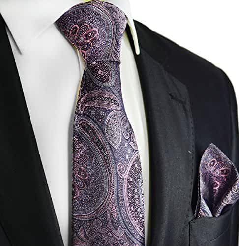 Rock Ridge Grey and Pink Silk Tie Set by Paul Malone