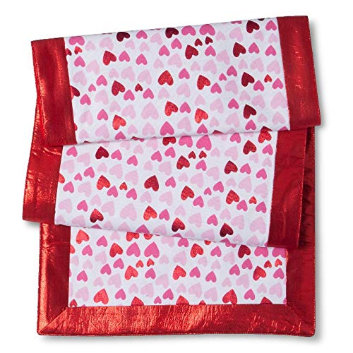 - Valentines Table Runner with Pink and Red Hearts, Featuring Shiny Lame-Like Border