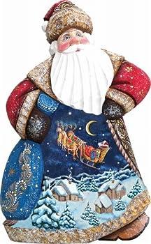G. Debrekht 8214813 Woodcarving Up,Up & Away Dance Santa 8 inch - Woodcarved Santa