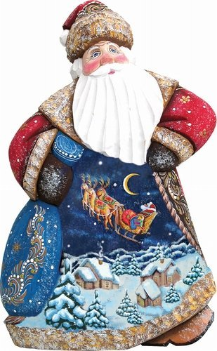 G. Debrekht 8214813 Woodcarving Up,Up & Away Dance Santa 8 inch - Woodcarved Santa by G. Debrekht