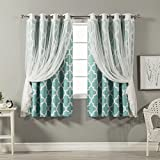 Best Home Fashion Tulle Lace & Moroccan Print Border Room Darkening Curtain Set – Stainless Steel Nickel Grommet Top – Blue – 52″W x 63″L – (2 Curtains and 2 Sheer curtains)