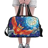 Unique Debora Custom Weekend Travel Bag Unisex Travel Gear Luggage for Stained Glass Style Red Owl And Moon