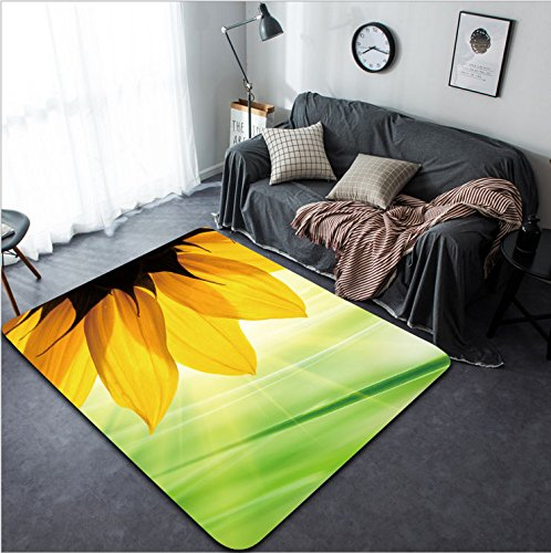 Vanfan Design Home Decorative 158209583 Sunflower flower over over green floral background Modern Non-Slip Doormats Carpet for Living Dining Room Bedroom Hallway Office Easy Clean Footcloth by vanfan