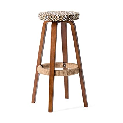 Amazon Com Liang Solid Wood Bar Chair Round High Stool Home Bar
