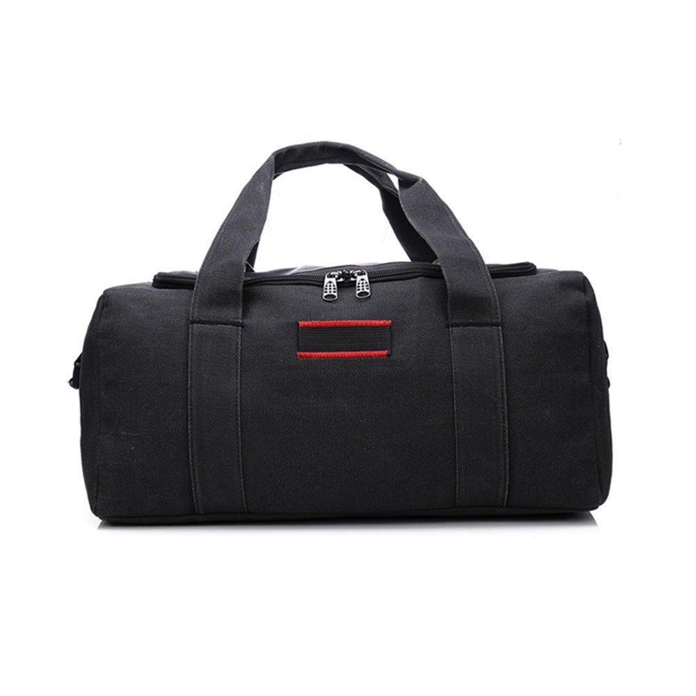 耐久性のある 大容量キャンバスバッグトラベルバッグ男性の手の女性のダッフルバッグショルダーバッグのメッセンジャーバッグ (色 : ブラック)  ブラック B07PJ89J7R