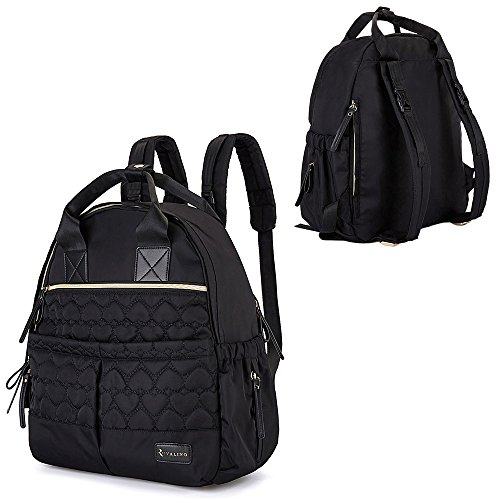 Diaper Bag, RUVALINO Multi-Function Baby Diaper Bag Backpack Waterproof Nappy Bags Travel Backpack with Stroller Straps, Changing Pad for Baby Care, Large Capacity, Lightweight and Durable (Black)