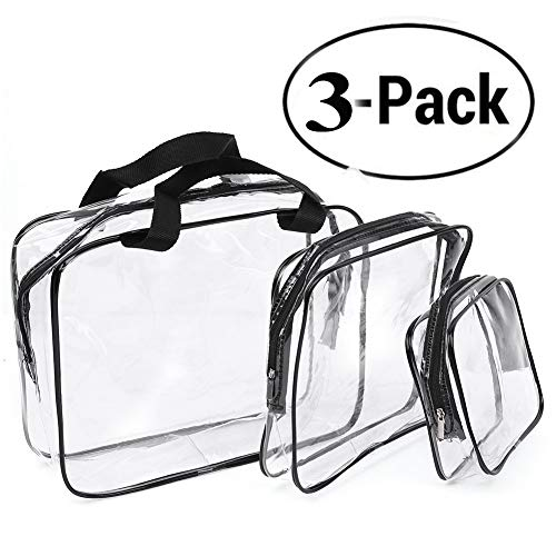 Clear Toiletry Bag, Transparent Makeup HandBag Waterproof, Cosmetic Organizer Pouch with Security Zipper for Travel, 3 Set Bags by Charme