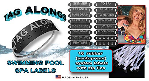 - Tag Alongs Swimming Pool & spa Raised I.D. Plumbing Identification Label System. USA Made