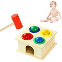 Bonbela Pounding Bench Wooden Toy with Mallet Wood Knocks Pounding Hammering Percussion Developmental Toy for 1-3 Years Old Baby