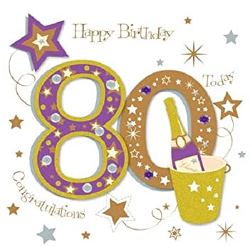 Happy 80th Birthday Greeting Card By Talking Pictures Greetings Cards Amazoncouk Office Products