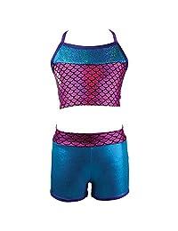 Reflectionz Big Girls Fuchsia Turquoise Sequin Mermaid Top Shorts Set 8-10