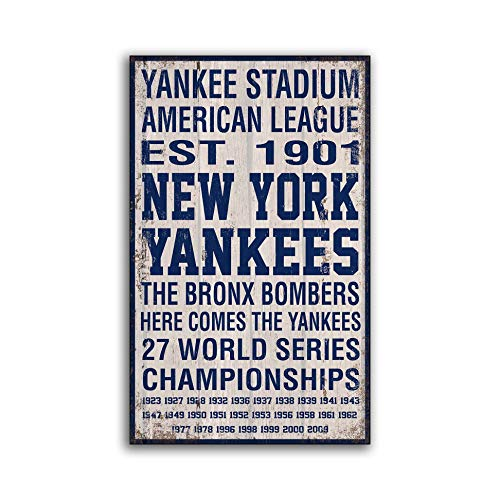 (Adonis554Dan New York Yankees Wood Sign Hand Crafted Baseball Print on Wood Decor Wooden Bronx Bombers Handmade Home Decor Wall Signs)