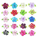 "HipGirl Girls Mini Bow Tie, Mini Pinwheel Hair Bow Clips, Barrettes (20pc 1.5"" Petal Flower Clips--Solid/Dots/Prints)"