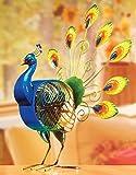DecoBREEZE Table Fan Single-Speed Electric Circulating Fan, Large Peacock Figurine Fan