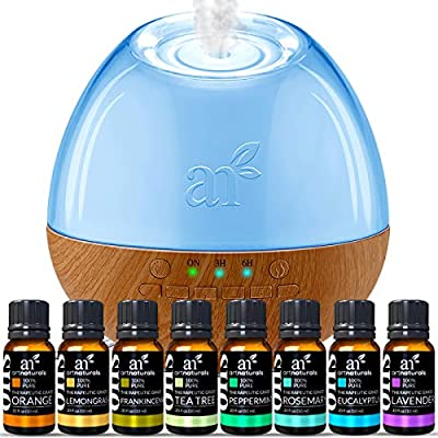 ArtNaturals Sound Machine Diffuser & Essential Oil Set (300ml Tank & Top 8 Set) 6 Calming Natural Sounds Aromatherapy and White Noise for