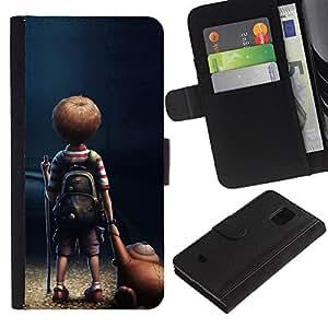 Planetar® Modelo colorido cuero carpeta tirón caso cubierta piel Holster Funda protección Para Samsung Galaxy S5 Mini / SM-G800 (Not For S5!!!) ( Historieta del niño del muchacho del oso de peluche Arte Amistad )