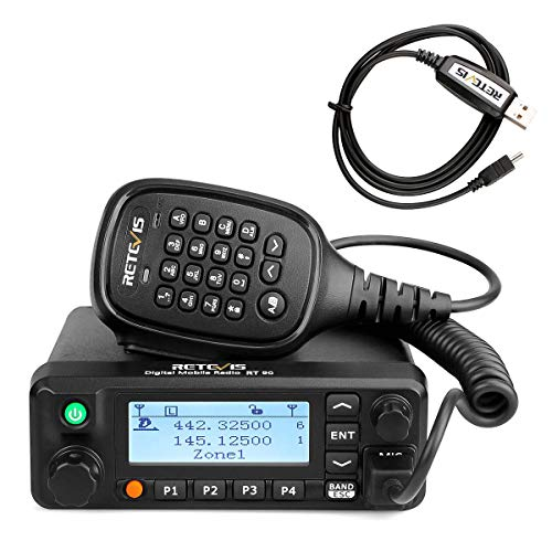 Retevis RT90 Mobile Radios Digital 50W Dual Band VHF UHF 250 Zones 3000 CH 10000 Contacts DMR Amateur Mobile Radio with Recording (Black, 1 Pack)