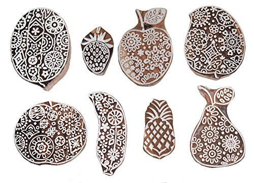 Hashcart Printing Stamps Fruits Design Wooden Blocks (Set of 8) Hand-Carved for Saree Border Making Pottery Crafts Textile ()