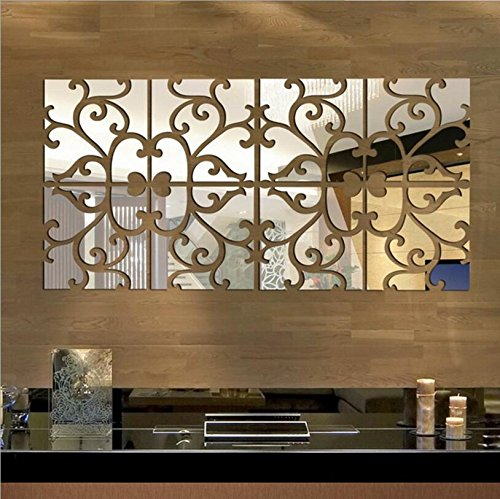 Yusylvia 1 set of 8 PCS Square Combination Mirror Mural Acrylic Crystal Wall Background Stickers for TV Corridor Dning Room Home Decoration (large 2525CM, Silver) - Decorative Wall Murals