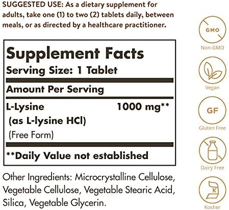 Solgar L-Lisina Comprimidos de 1000 mg, Envase de 250