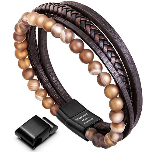 murtoo Mens Bead Leather Bracelet, Natural Bead, Steel and Leather Bracelet for Men Christmas Gift (brown bead) (Best Om Guitar Under 1000)