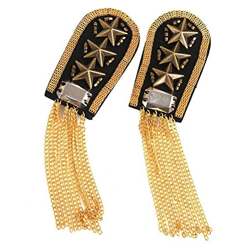 BinaryABC Epaulet Shoulder,Shoulder Boards Badge, 1 Pair Star Tassel Link Chain (Gold)