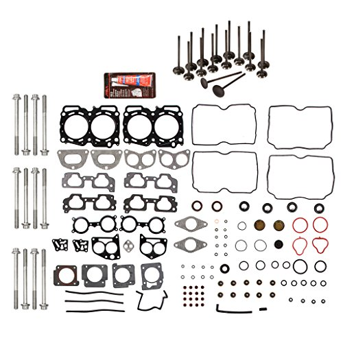 Evergreen HSHBIEV9012 Head Gasket Set Head Bolts Intake Exhaust Valves Fits 04-09 Subaru Impreza Legacy Forester Outback 2.5 EJ25 SOHC