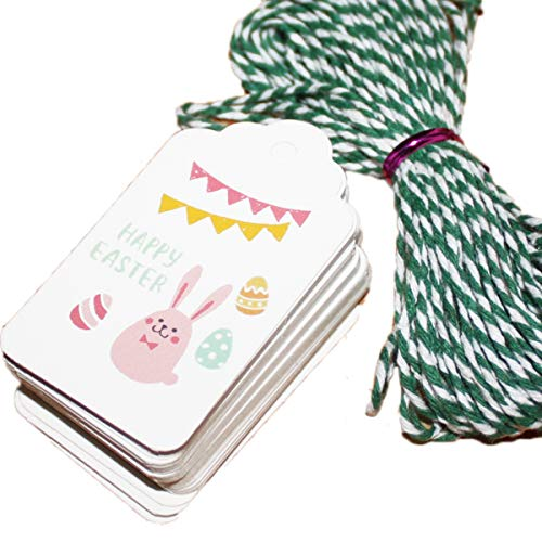 50PCS Happy Easter Bunny Kraft Paper Gift Tag Scalloped Top Retangle Label Hang Tags for DIY Craft Easter Scrapbooking Embellishment Gift Card 70mm(2 6/8