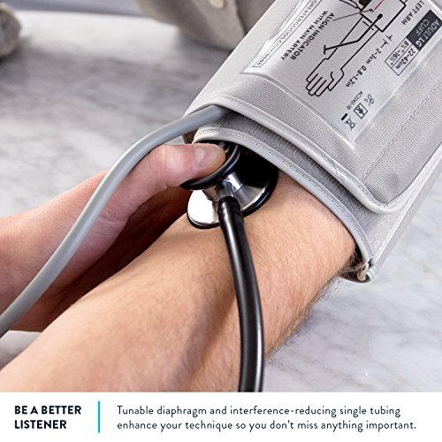 Clinical Grade Dual-Head Stethoscope by GreaterGoods. Classic Lightweight Design for The Medical Professional (Black) by Greater Goods (Image #2)