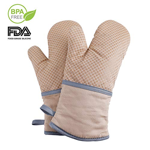 Echeer Heat Resistant Oven Mitts Silicone and Cotton Infilled, 570 ℉ Kitchen Potholders Gloves, Recycled Cotton Terrycloth Lining Mitts 2 Pack ()