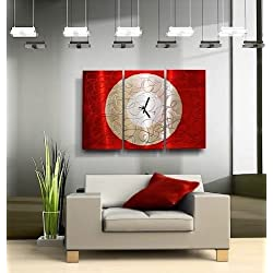 Large Red & Silver Hand-Painted Metal Wall Clock - Contemporary Metal Wall Art Accent - Burning Moon by Jon Allen - 38-inch