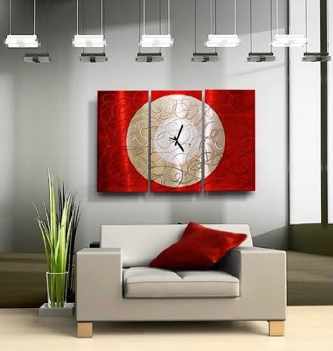 Large Red & Silver Hand-Painted Metal Wall Clock - Contemporary