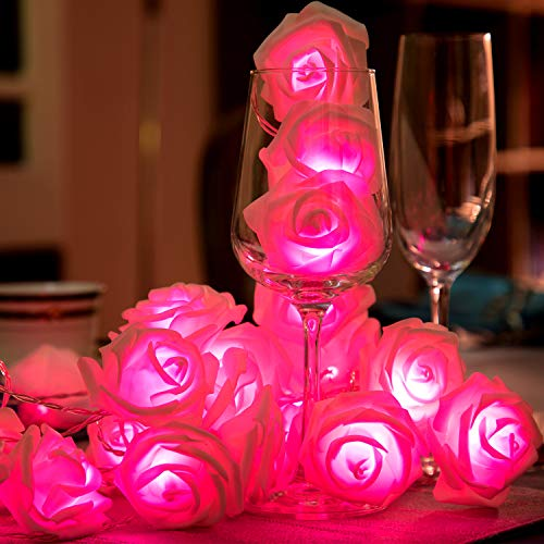 Tatuo 1 String 40 LED Rose String Lights Battery Operated Romantic Flower Rose Fairy String Light Lamp 19.68 ft for Wedding Room Anniversary Valentine's Day Decoration (Pink Light) ()