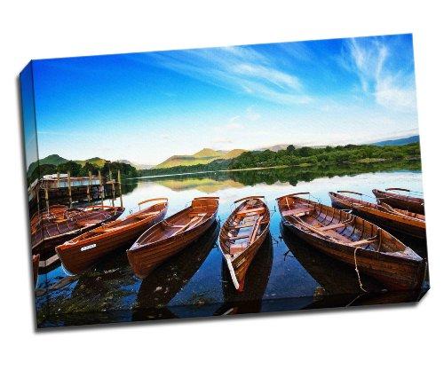 Panther Print Keswick Lake District Boats Canvas Art Print Poster 30