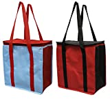 over the shoulder cooler bag - Earthwise Reusable Insulated Grocery Bags Heavy Duty Cooler Tote WATERPROOF Nylon Thermal Insulation w/ZIPPER Closure KEEPS FOOD HOT OR COLD (2-pack)