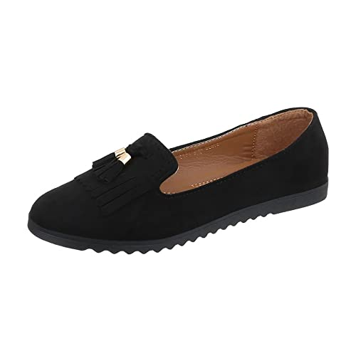 Zapatos para Mujer Mocasines Plano Slip-on Negro Tamaño 37