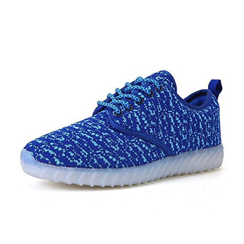 USB Breathable Shoes Size Dance Comfort Blue Charging HUAN Shoes Ghost Parent Dark Color LED Sneakers Shoes LED 40 Step Flashing Child Shoes Couples wqva7q0nO