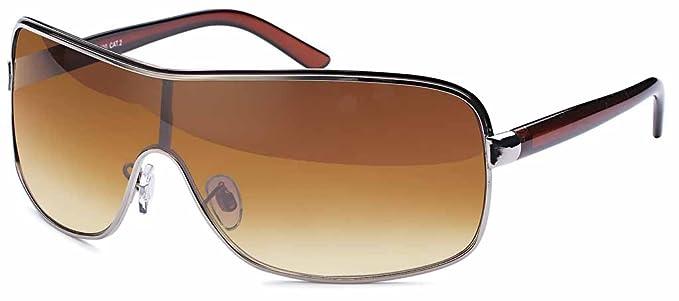 Damen Kunststoff Sonnenbrille Monoscheibe mit Kontrastlinie und schmalen Bügeln- Im Set mit Etui (glänzend weiß) pka4lxge