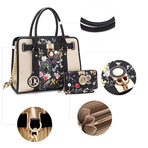 Two black Bag Designer gold Purse Dasein Matching Satchel Floral W Shoulder Top Handle Crosshatch 1 Toned Strap Texture chain Wallet Women's Handbag Padlock TxqgI
