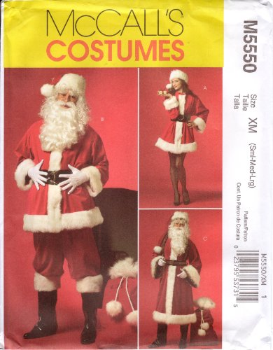 McCall's Sewing Pattern M5550 Men's or Misses' Santa Claus Costumes & Bag (Misses Claus Costume)