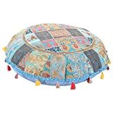 ANJANIYA 22'' Beautiful Bohemian Round Indian Patchwork Pouffe Indian Traditional Home Decorative Handmade Cotton Ottoman Patchwork Foot Stool Floor Cushion Embroidered Decorative Vintage (Turquoise)