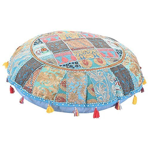 ANJANIYA 32'' Beautiful Bohemian Round Indian Patchwork Pouffe Indian Traditional Home Decorative Handmade Cotton Ottoman Patchwork Foot Stool Floor Cushion Embroidered Decorative Vintage (Turquoise) by ANJANIYA