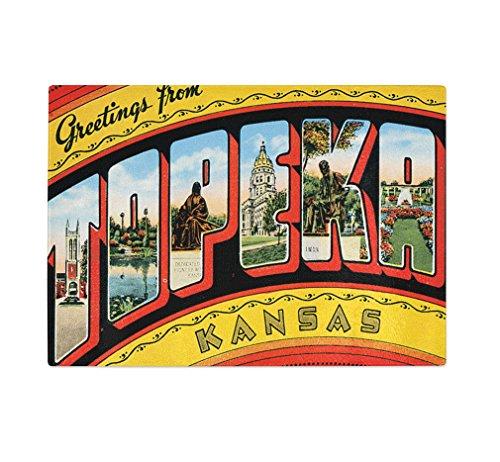 Greetings Topeka KS Old Travel Poster Kitchen Bar Glass Cutting Board - Topeka Ks Glass